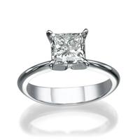 Bild von 0.90 Gesamtkarat Solitär-Verlobungsring mit Princessdiamant