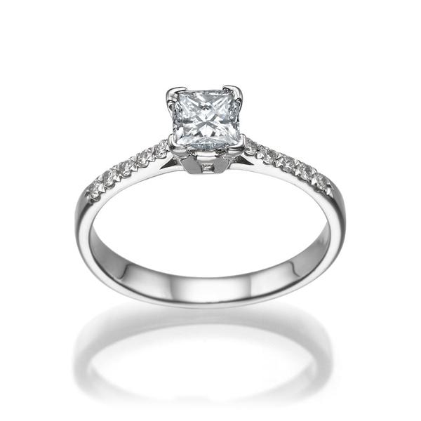 Bild von 0.50 Gesamtkarat Klassisch-Verlobungsring mit Princessdiamant