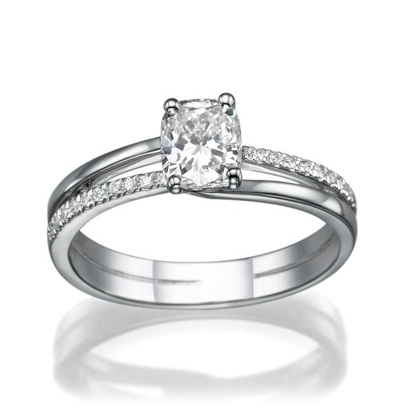 Bild von 0.40 Gesamtkarat Klassisch-Verlobungsring mit Ovaldiamant