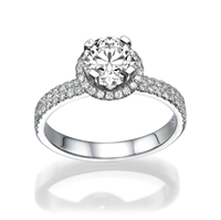 Picture of 0.81 Total Carat Halo Engagement Round Diamond Ring