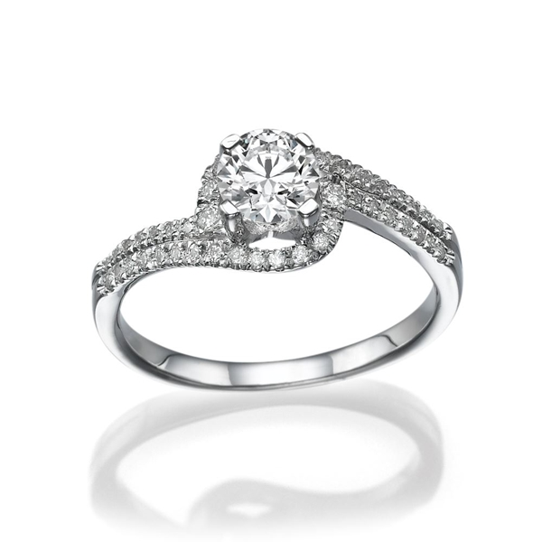 Picture of 0.62 Total Carat Halo Engagement Round Diamond Ring