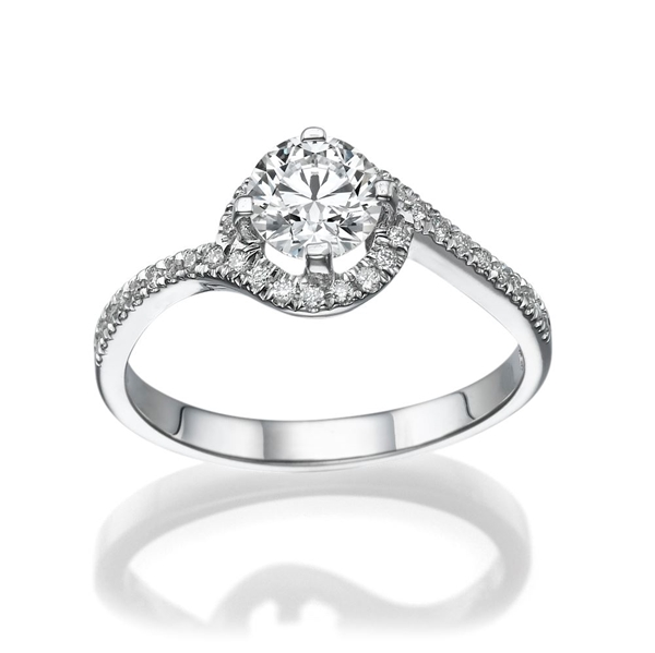 Picture of 0.77 Total Carat Halo Engagement Round Diamond Ring