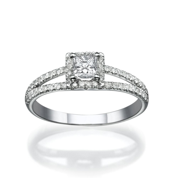 Picture of 0.58 Total Carat Halo Engagement Princess Diamond Ring
