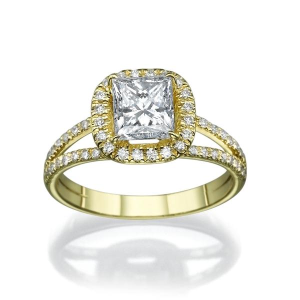 Bild von 0.58 Gesamtkarat Halo-Verlobungsring mit Princessdiamant