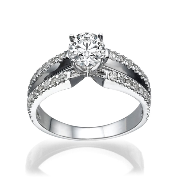 Picture of 0.90 Total Carat Designer Engagement Round Diamond Ring