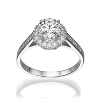 Picture of 0.68 Total Carat Halo Engagement Round Diamond Ring