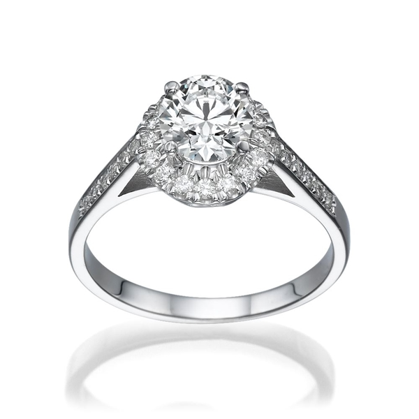 Picture of 0.88 Total Carat Halo Engagement Round Diamond Ring