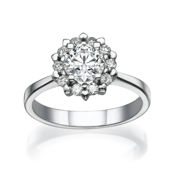 Picture of 1.10 Total Carat Halo Engagement Round Diamond Ring