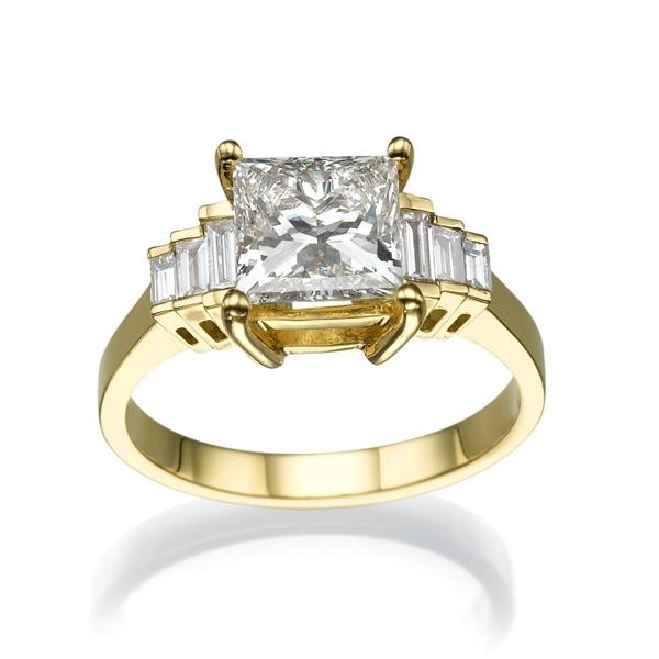 Bild von 2.38 Gesamtkarat Designer-Verlobungsring mit Princessdiamant