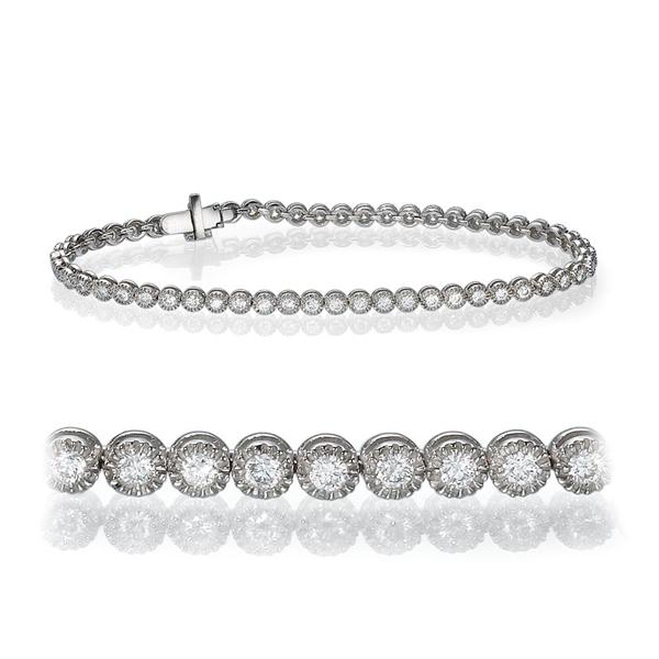 Bild von 1.55 Gesamtkarat Tennis-Diamantarmbänder mit Runddiamant