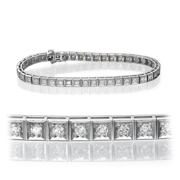 Bild von 2.00 Gesamtkarat Tennis-Diamantarmbänder mit Runddiamant