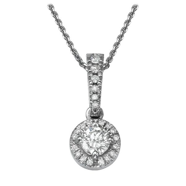 Picture of 0.45 Total Carat Halo Round Diamond Pendant