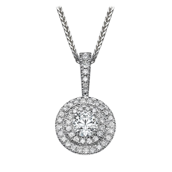 Picture of 0.91 Total Carat Halo Round Diamond Pendant