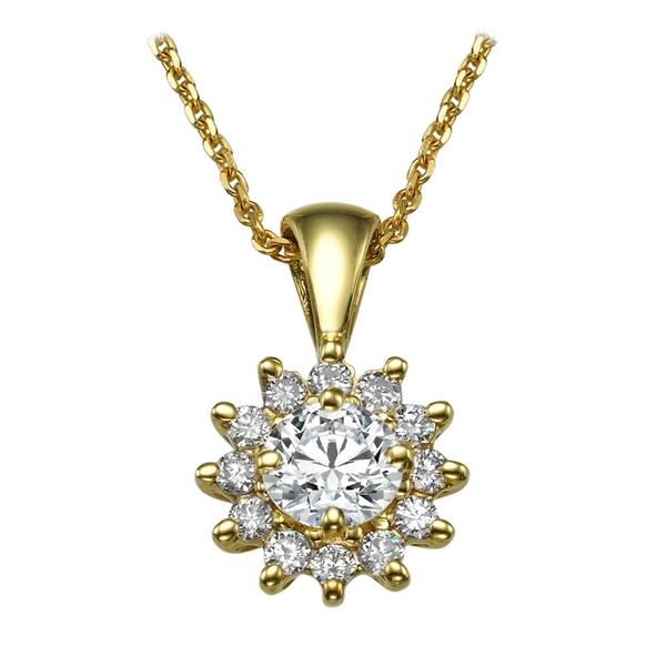 Picture of 0.59 Total Carat Halo Round Diamond Pendant