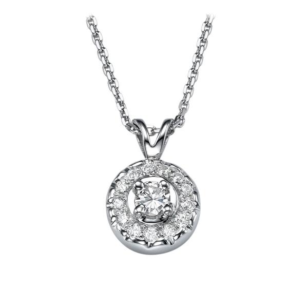 Picture of 0.24 Total Carat Halo Round Diamond Pendant