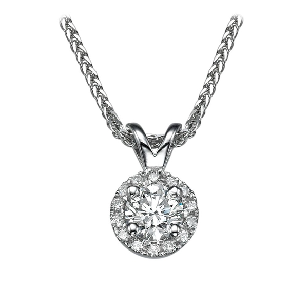 Picture of 0.33 Total Carat Halo Round Diamond Pendant