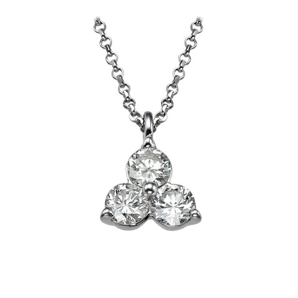 Bild von 0.51 Gesamtkarat 3-Stein-Halsketten mit Runddiamant