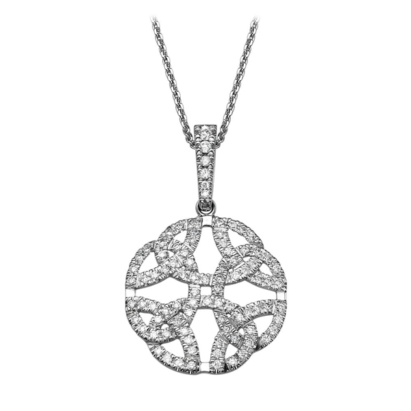 Bild von 0.49 Gesamtkarat Designer-Halsketten mit Runddiamant