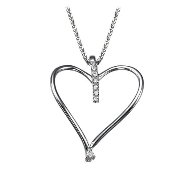 Bild von 0.08 Gesamtkarat Herz-Halsketten mit Runddiamant