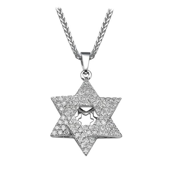 Bild von 0.81 Gesamtkarat Davidstern-Halsketten mit Runddiamant