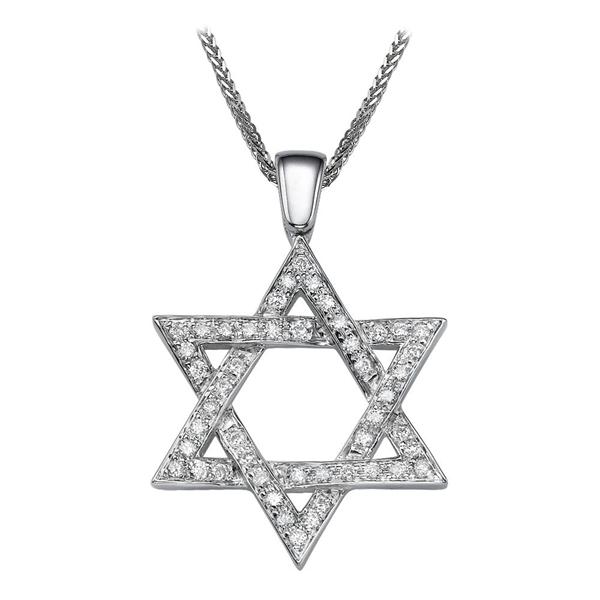 Bild von 0.48 Gesamtkarat Davidstern-Halsketten mit Runddiamant