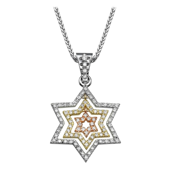 Bild von 0.84 Total Carat Star of David Round Diamond Pendant