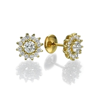 Picture of 2.88 Total Carat Stud Round Diamond Earrings