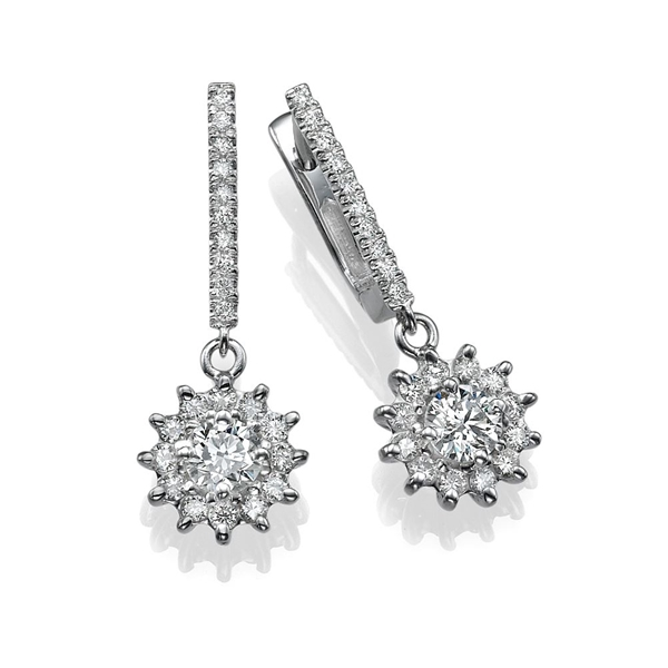 Picture of 3.06 Total Carat Drop Round Diamond Earrings