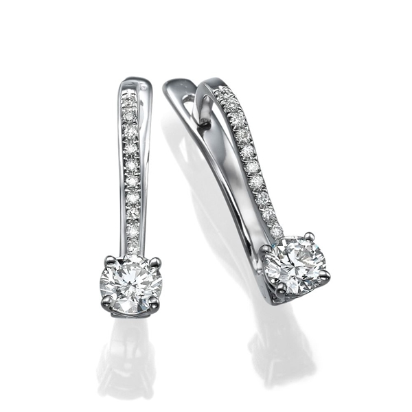 Picture of 0.80 Total Carat Drop Round Diamond Earrings