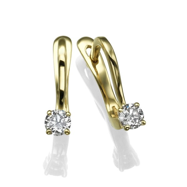 Picture of 0.46 Total Carat Drop Round Diamond Earrings