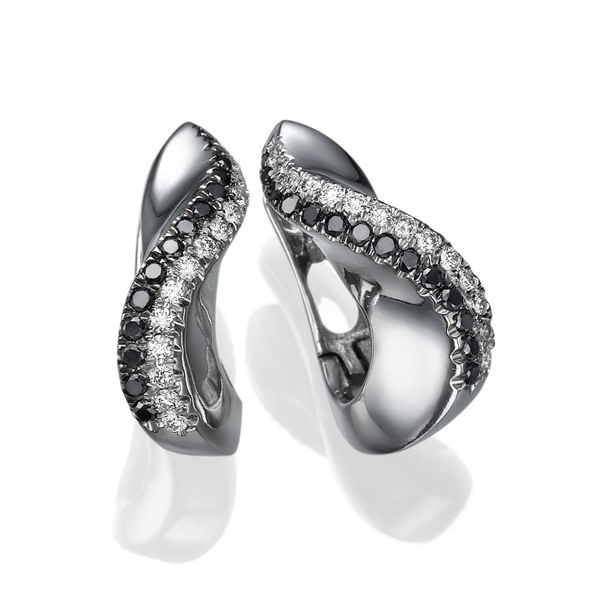 Picture of 0.56 Total Carat Hoop Round Diamond Earrings