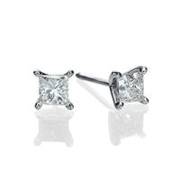 Bild von 2.00 Gesamtkarat Knopf-Ohrringe mit Princessdiamant