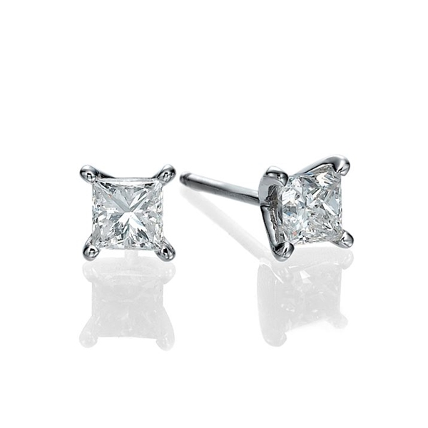 Picture of 1.80 Total Carat Stud Princess Diamond Earrings