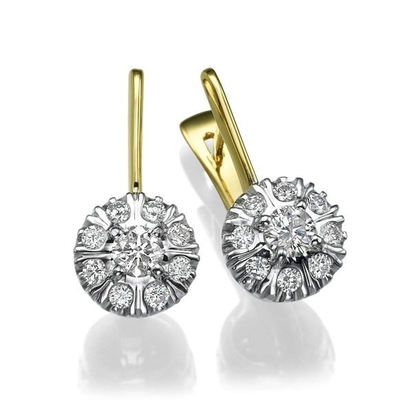 Picture of 0.98 Total Carat Drop Round Diamond Earrings