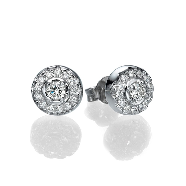 Picture of 0.49 Total Carat Stud Round Diamond Earrings