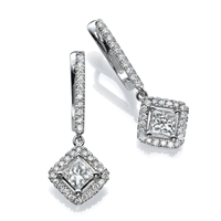 Picture of 1.88 Total Carat Drop Princess Diamond Earrings