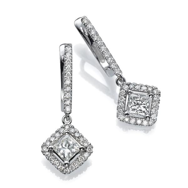 Picture of 1.48 Total Carat Drop Princess Diamond Earrings