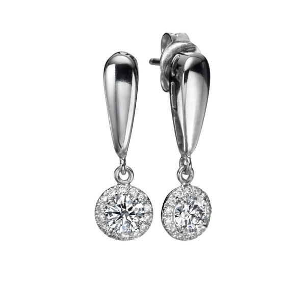 Picture of 0.94 Total Carat Drop Round Diamond Earrings
