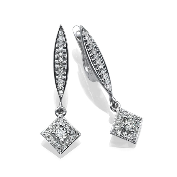 Picture of 0.55 Total Carat Drop Round Diamond Earrings