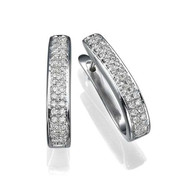 Picture of 0.64 Total Carat Hoop Round Diamond Earrings