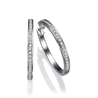Picture of 0.48 Total Carat Hoop Round Diamond Earrings