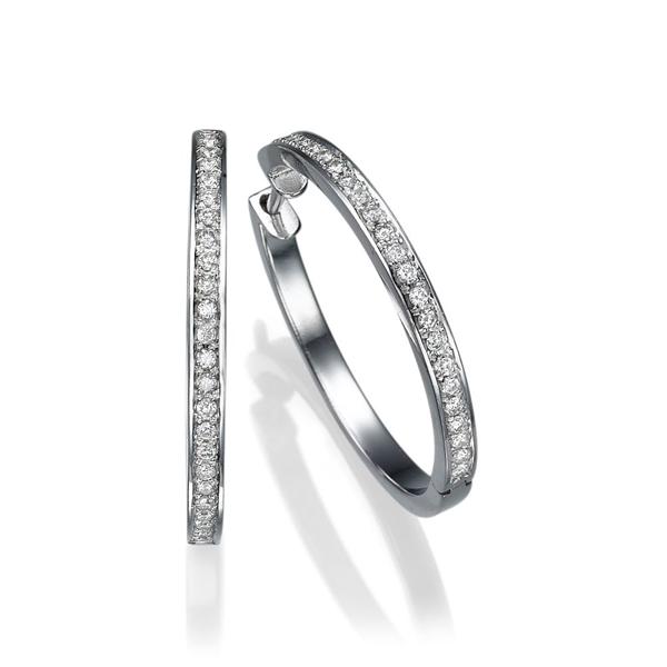 Picture of 0.48 Total Carat Hoop Round Diamond Earrings