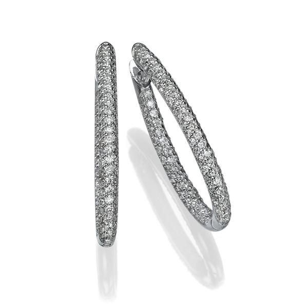 Picture of 2.38 Total Carat Hoop Round Diamond Earrings