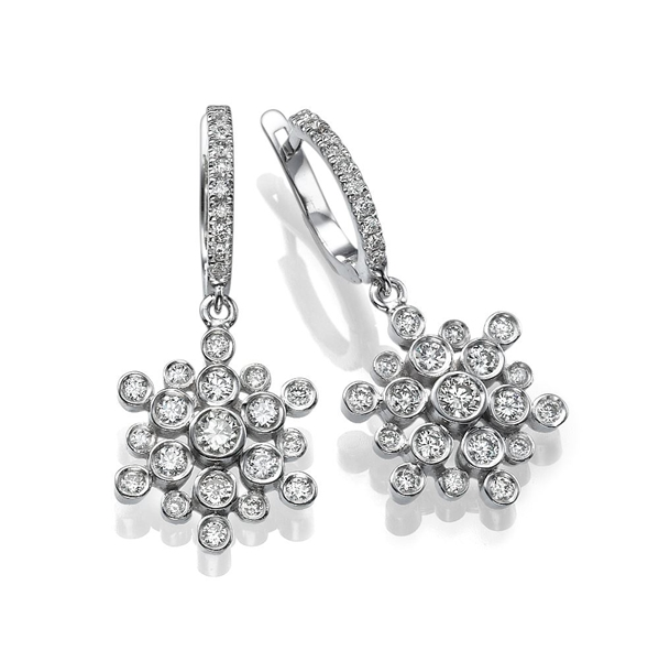 Picture of 1.00 Total Carat Drop Round Diamond Earrings