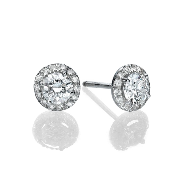 Picture of 1.54 Total Carat Stud Round Diamond Earrings