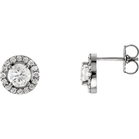 Picture of 1.38 Total Carat Halo Round Diamond Earrings