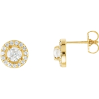 Picture of 1.00 Total Carat Halo Round Diamond Earrings