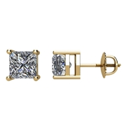 Picture of 1.00 Total Carat Stud Princess Diamond Earrings