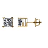 Bild von 0.74 Gesamtkarat Knopf-Ohrringe mit Princessdiamant