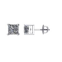 Bild von 1.00 Gesamtkarat Knopf-Ohrringe mit Princessdiamant